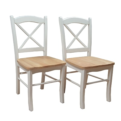 TMS Tiffany Rubberwood Dining Chair; White/Natural, 2/Pack