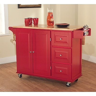 TMS Sundance Wood Kitchen Cart; Red