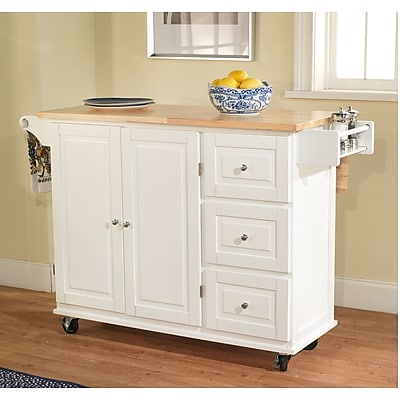 TMS Sundance Wood Kitchen Cart; White