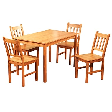 TMS 29in. x 29in. x 46.4in. Solid Bamboo 5 Piece Dining Set, Natural