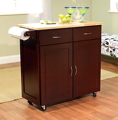 TMS Large Kitchen Cart With Wood Top, Espresso/Natural