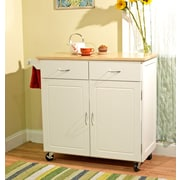 TMS Large Kitchen Cart With Wood Top, White/Natural