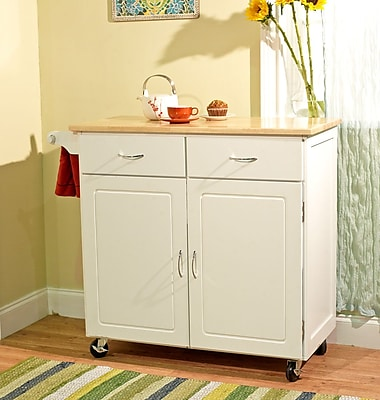 TMS Large Kitchen Cart With Wood Top; White/Natural