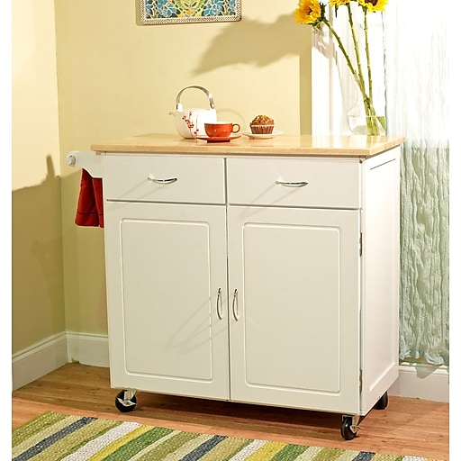 Tms Large Kitchen Cart With Wood Top White Natural