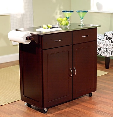 TMS Large Kitchen Cart With Stainless Steel Top, Espresso