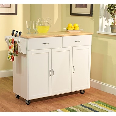 TMS Extra Large Kitchen Cart With Wood Top, White/Natural