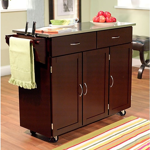 TMS Extra Large Kitchen Cart With Stainless Steel Top; Espresso