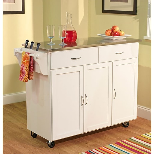 Tms Extra Large Kitchen Cart With Stainless Steel Top White