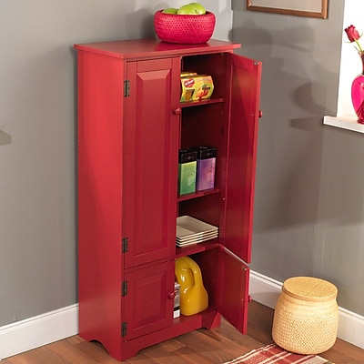 TMS 4-Shelf Wood Tall Cabinet; Red (61888RED)