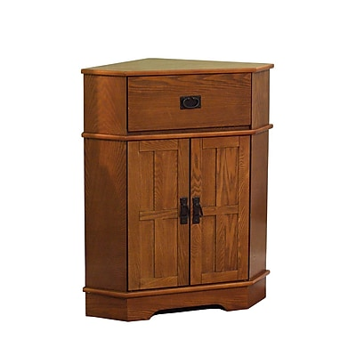 TMS Mission 1-Drawer Wood Corner Cabinet; Oak (70680OAK)