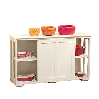 TMS Engineered Wood Pacific Kitchen Island With Wood Door, White