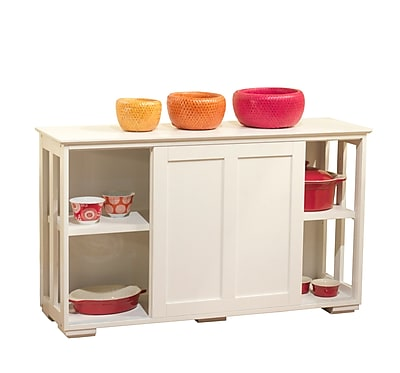 TMS Engineered Wood Pacific Kitchen Island With Wood Door; White