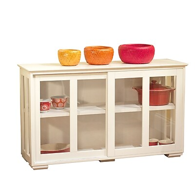 TMS Engineered Wood Pacific Kitchen Island With Acrylic Door, Antique White