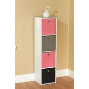 TMS Wood White Storage Case With 4 Fabric Bins, Pink/Black/Gray