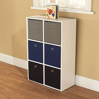 TMS Wood White Storage Case With 6 Fabric Bins, Blue/Black/Gray