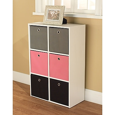 TMS Wood White Storage Case With 6 Fabric Bins, Pink/Black/Gray