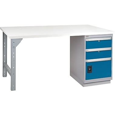 KLETON Workbench, Plastic Laminate Top, 1 Pedestal, 2 Drawers & 1 Door