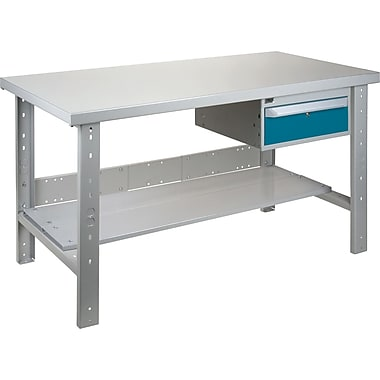 Kleton Workbench, Wood Filled Steel Top, Open Style, Lower Shelf, 1 Drawer, 30