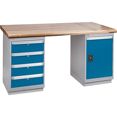 Kleton Workbench, Laminated Wood Top, 2 Pedestals, 4 Drawers, Full Door Cabinet, 24