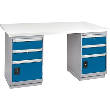 KLETON Workbench, Plastic Laminate Top, 2 Pedestals, 2 Drawers & 1 Door, 2 Drawers & 1 Door