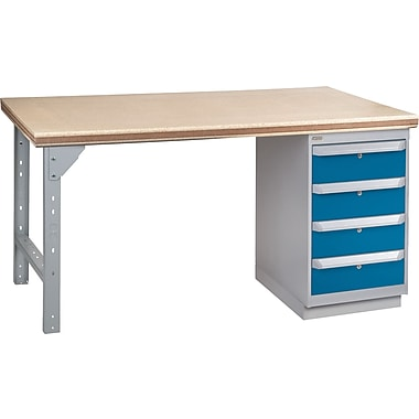 KLETON Workbench, Shop Top, 1 Pedestal, 4 Drawers