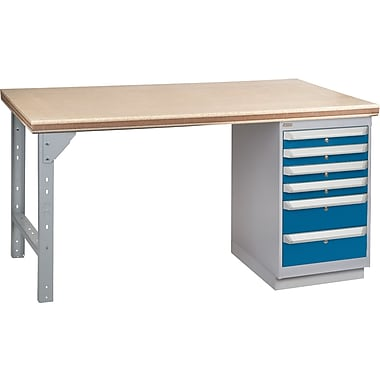 KLETON Workbench, Shop Top, 1 Pedestal, 6 Drawers
