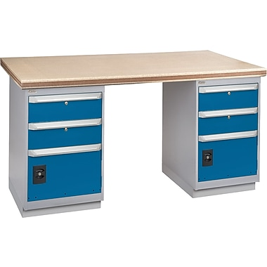 Kleton Workbench, Shop Top, 2 Pedestals, 2 Drawers & 1 Door, 2 Drawers & 1 Door, 36