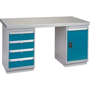 KLETON Workbench, Steel- Wood Fill, 2 Pedestals, 4 Drawers, Full Door Cabinet