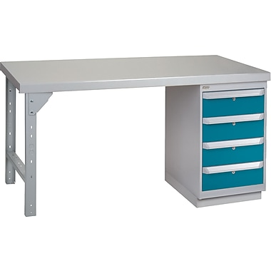 Kleton Workbench, Wood Filled Steel Top, 1 Pedestal, 4 Drawers, 30