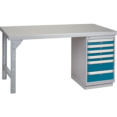 KLETON Workbench, Wood Filled Steel Top, 1 Pedestal, 6 Drawers