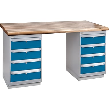 KLETON Workbench, Laminated Wood Top, 2 Pedestals, 4 Drawers, 4 Drawers