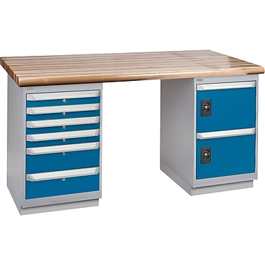 KLETON Workbench, Laminated Wood Top, 2 Pedestals, 6 Drawers, 2 Doors
