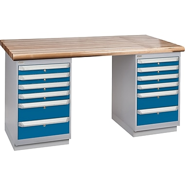 KLETON Workbench, Laminated Wood Top, 2 Pedestals, 6 Drawers, 6 Drawers