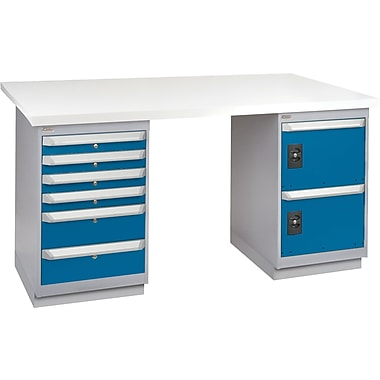 KLETON Workbench, Plastic Laminate Top, 2 Pedestals, 6 Drawers, 4 Drawers