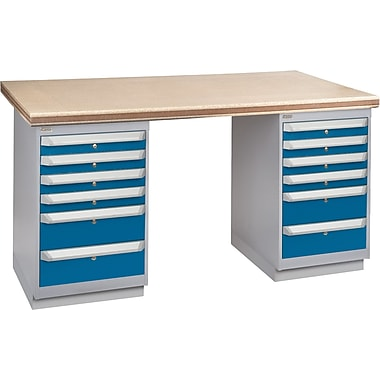 KLETON Workbench, Shop Top, 2 Pedestals, 6 Drawers, 6 Drawers