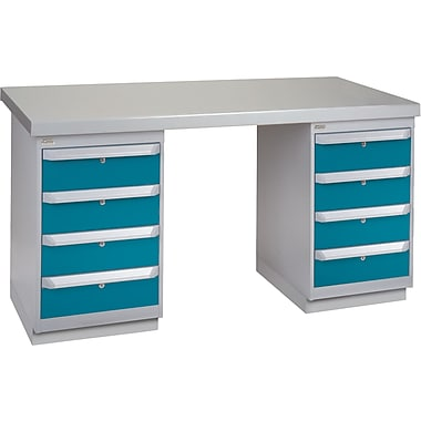 KLETON Workbench, Wood Filled Steel Top, 2 Pedestals, 4 Drawers, 4 Drawers