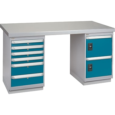 KLETON Workbench, Wood Filled Steel Top, 2 Pedestals, 6 Drawers, 2 Doors
