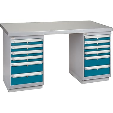 KLETON Workbench, Wood Filled Steel Top, 2 Pedestals, 6 Drawers, 6 Drawers