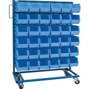"Kleton Mobile Bin Racks, Singled Sided, 36""W. x 16""D. x 52""H."