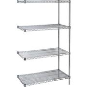 "KLETON Chromate Wire Shelving, 4 Shelves, 14""D. x 63""H."
