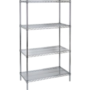 "Kleton Chromate Wire Shelving, 4 Shelves, 18""D. x 63""H."