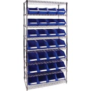 "Kleton Wire Shelving Units With Storage Bins, 36""W. x 14""D. x 74""H., 28 Bins, 1 Bin Size"