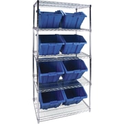 "Kleton Wire Shelving Units With Storage Bins, 36""W. x 24""D. x 74""H., 8 Bins, 1 Bin Size"