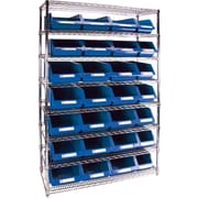 "Kleton Wire Shelving Units With Storage Bins, 48""W. x 18""D. x 74""H., 28 Bins, 2 Bin Sizes"