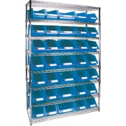 "Kleton Wire Shelving Units With Storage Bins, 48""W. x 18""D. x 74""H., 35 Bins, 2 Bin Sizes"