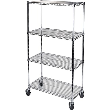 Kleton Wire Shelf Carts, 4 Shelves, 24