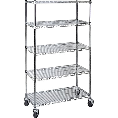 Kleton Wire Shelf Carts, 5 Shelves, 24