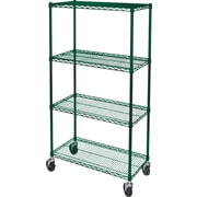 "Kleton Green Epoxy Finish Wire Shelf Carts, 4 Shelves, 24""D."
