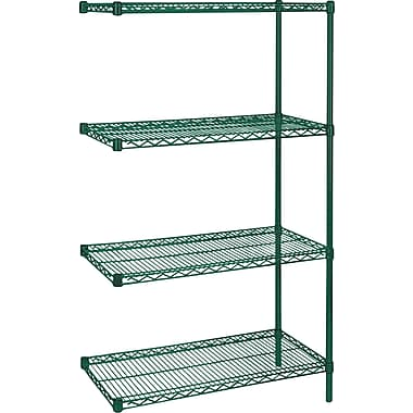 Kleton Green Epoxy Finish Wire Shelving, 4 Shelves, 24