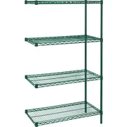 "Kleton Green Epoxy Finish Wire Shelving, 4 Shelves, 18""D. x 63""H."